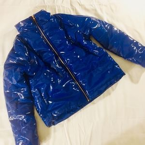 Patent Leather Street Style Bubble Jacket.